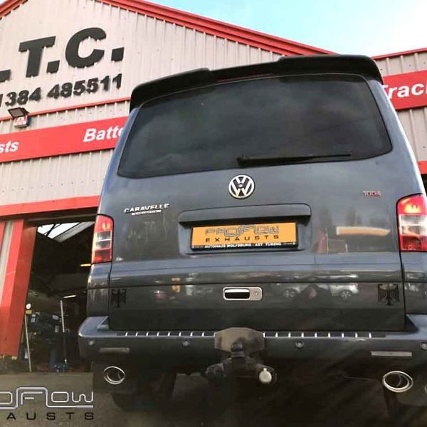 VW Transporter T5 Fitted With Proflow Stainless Steel Exhausts Mid And Rear Dual Tail Pipes £330 (1)