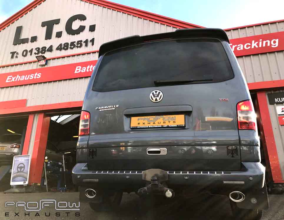 Vw Transporter T5 Fitted With Proflow Stainless Steel Exhausts Mid And Rear Dual Tail Pipes £: Vw T5 Exhaust At Woreks.co