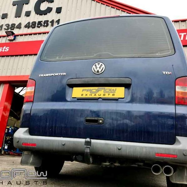 Proflow Exhausts Stainless Steel Vw T5 Transporter Volkswagen Mid Rear With Siingle Twin Tip (1)