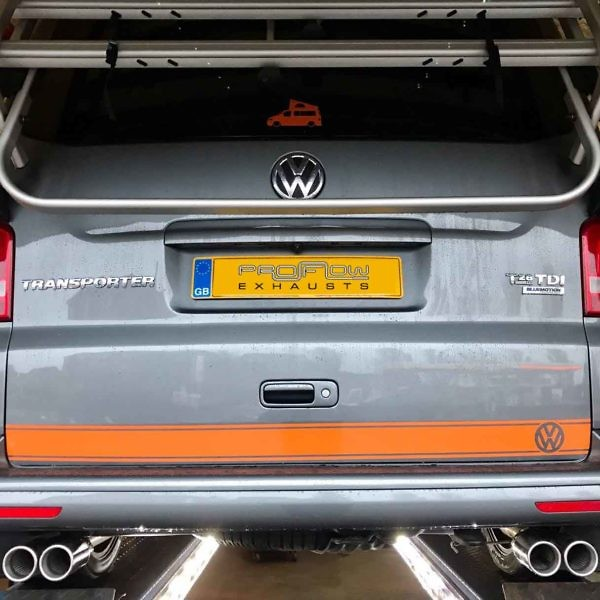 Proflow Stainless Steel Exhaust Middle And Rear Fitted To VW Transporter T5 Van (2)