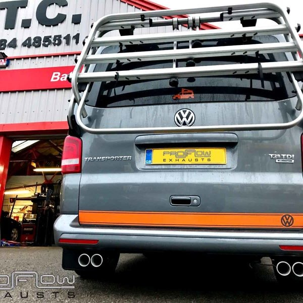Proflow Stainless Steel Exhaust Middle And Rear Fitted To VW Transporter T5 Van