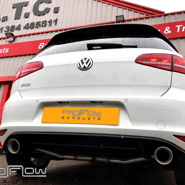 VW Golf Fitted With Stainless Steel Dual With Exit With Single Tailpipes Proflow Exhausts (1) Copy