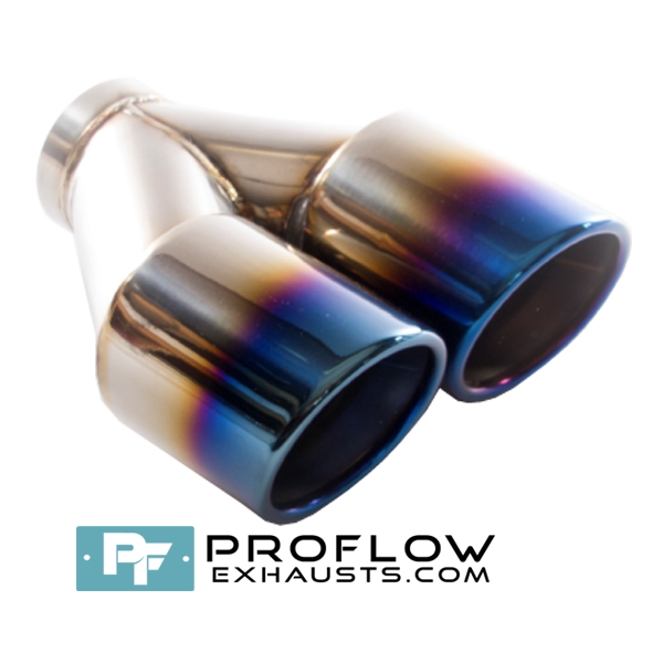 Proflow Exhausts Stainless Steel Twin Round Tailpipe Burnt Tip TX200
