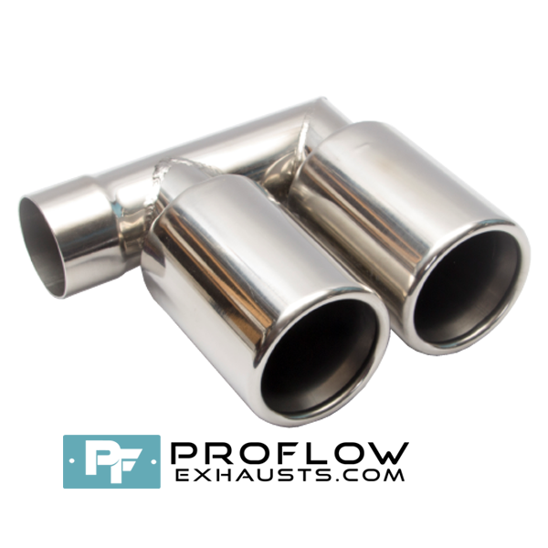 Proflow Exhausts Stainless Steel Twin Round Tailpipe F-Pipe with 3""