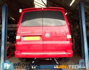 Vw Transporter T5 Middle And Dual Rear Proflow Van Tech Custom Exhaust Staggered Tx206 Black £390 (2)