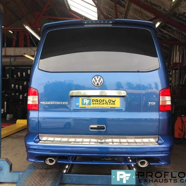 VW Transporter T5 Exhaust Stainless Steel Middle And Rear Twin Tailpipes (3)