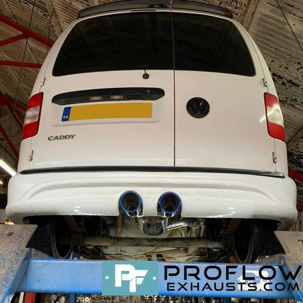 VW Caddy R32 Bumper Rear Exhaust Custom Built By Proflow Exhausts (1)