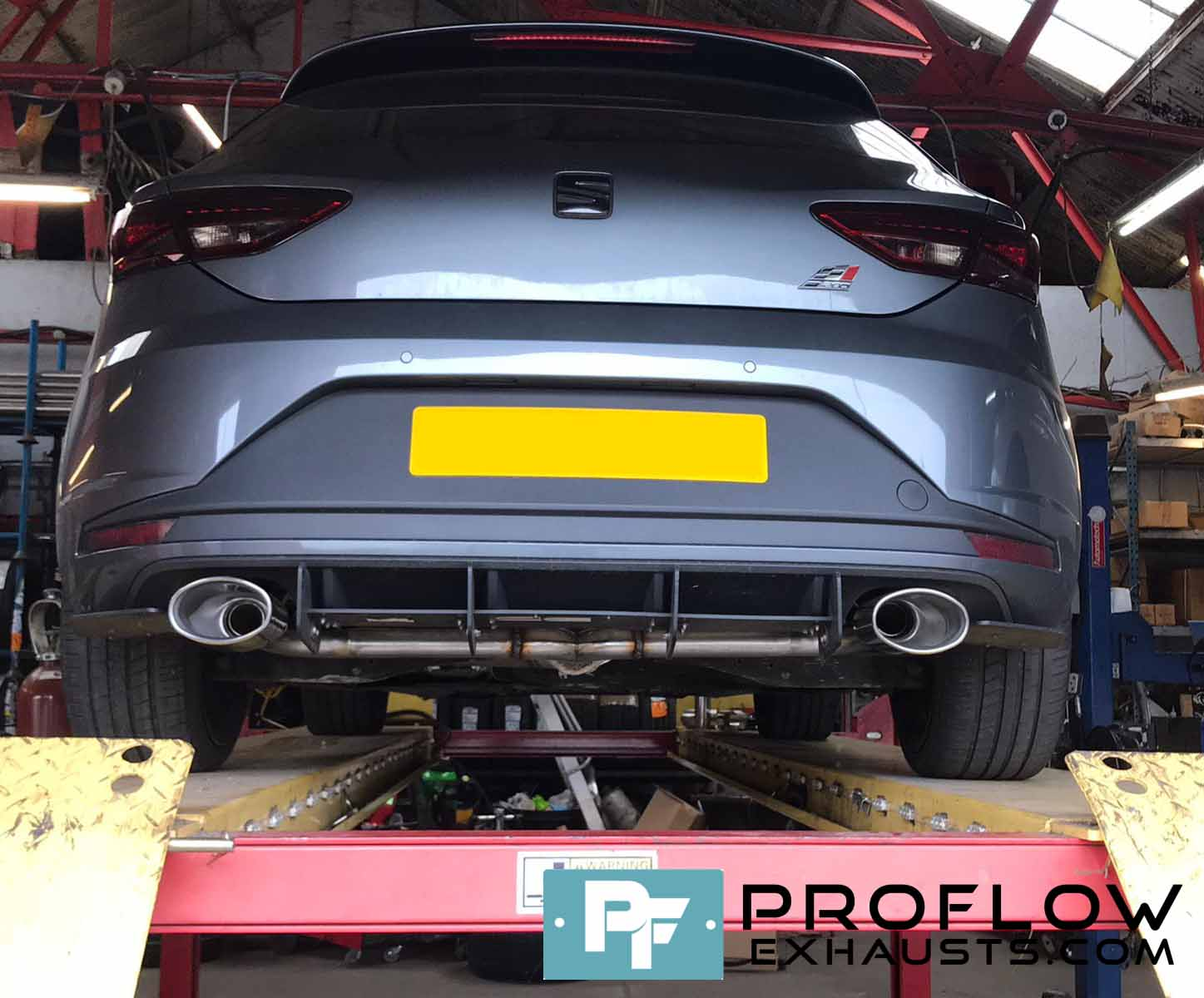 Seat Leon Custom Built Exhaust Middle and Back Box Delete with Dual Rear TX164 Tailpipes made from Stainless Steel