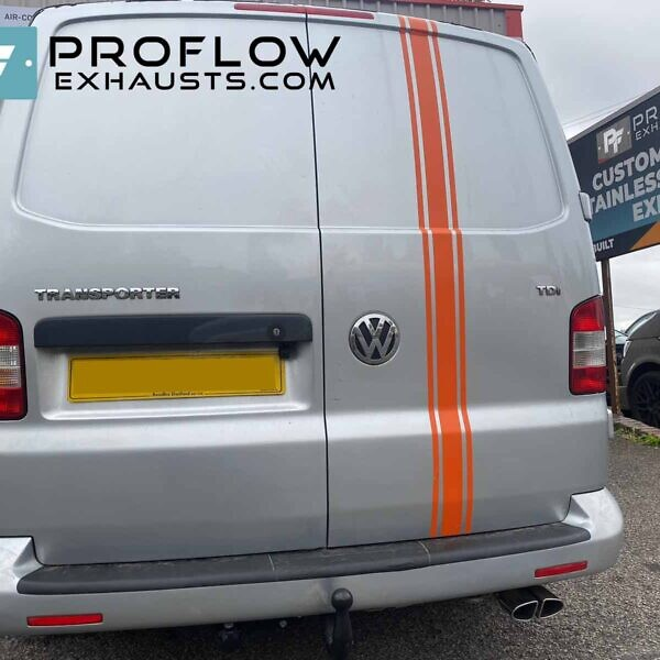 VW Transporter T5 Proflow Custom Exhuast Stainless Steel Single Exit With Twin Tailpipe (2)